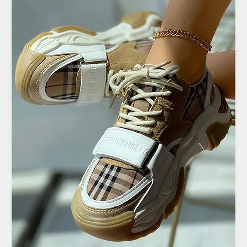 Plaid Platform All-Match Sneakers