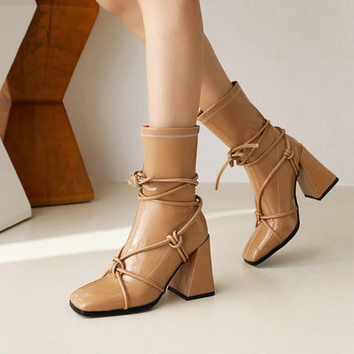Square Toe Lace-Up Women's Boots