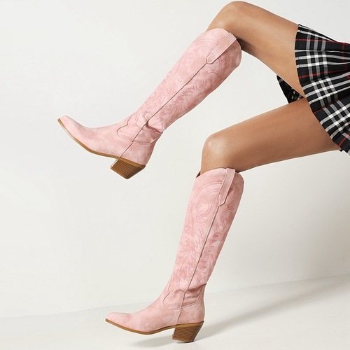 Pink Embroidered High Boots