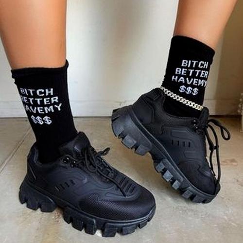 High-Top Round Toe Platform Sneakers