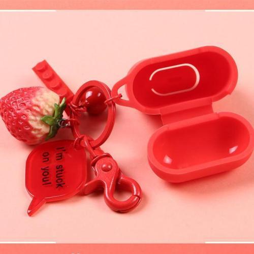 3D Strawberry Decor Silicone AirPods Case