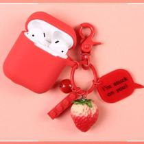 3D Strawberry Decor Silicone AirPods Case
