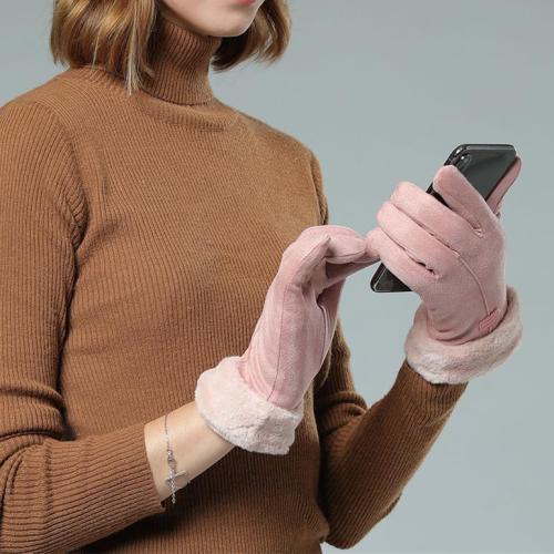 Women Warm Suede Touch Screen Gloves