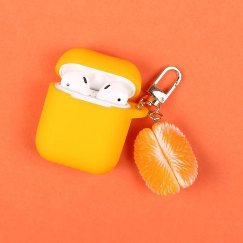 3D Orange Decor Silicone AirPods Case