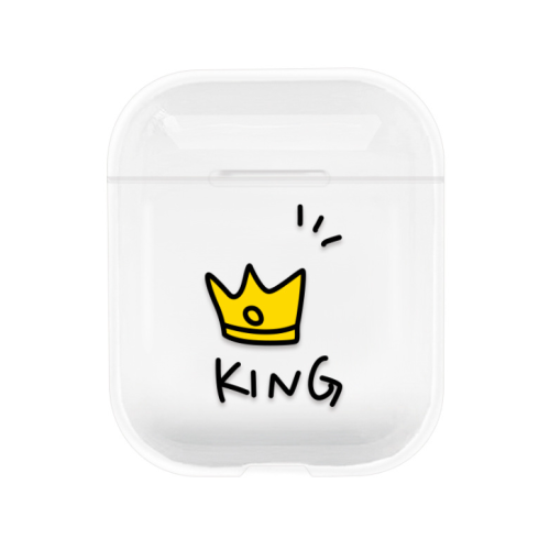 AirPods QUEEN/ KING Printed Transparent Case Cover
