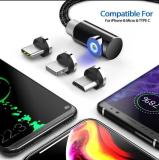 Magnetic USB Charging Cable With 3 Plug