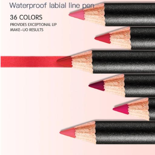 36 Colors Waterproof Non-marking Matt Velvet Lipstick Liner Pencil