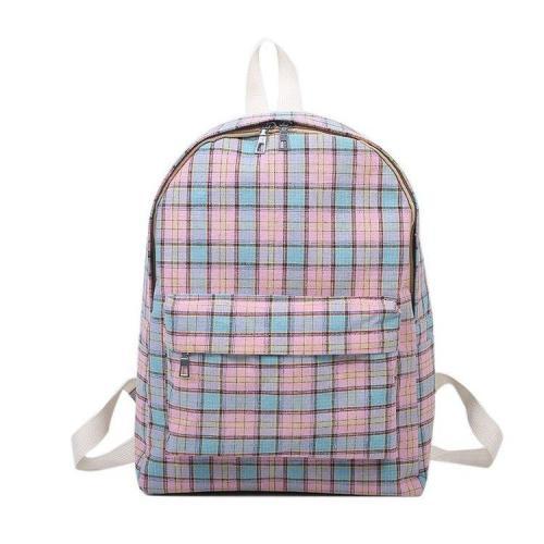 Plaid Print Canvas School Backpack