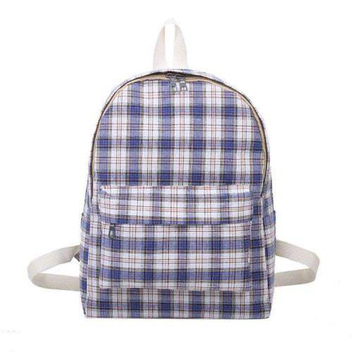 Plaid Print Canvas School Backpack