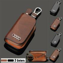 Car Logo Leather Wood Texture Car Key Case