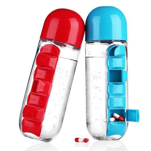 600ml Water Bottle Daily Pill Storage Organizer
