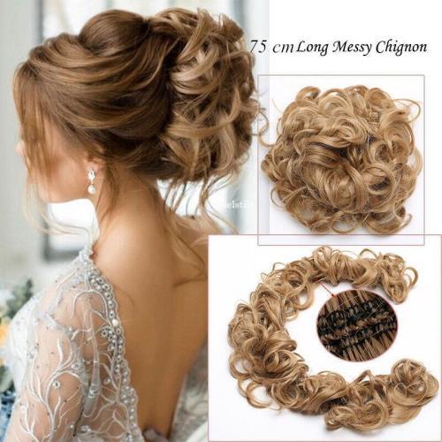 75 cm Long Messy Curly Chignon