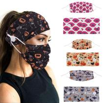 Halloween Style Face Mask & Button Headband Set