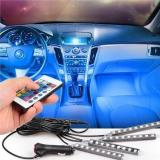Car Interior RGB LED  Light Lamp Strip with Wireless IR Remote Control