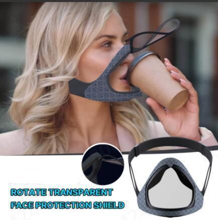 NEW Reusable Rotating Transparent Face Mask
