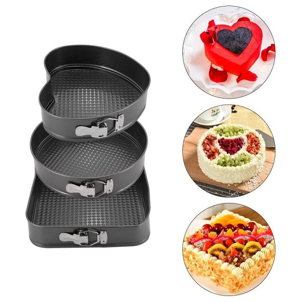 3Pcs/Set Non-Stick Cake Molds Baking Tools - Heart Round Square Shape