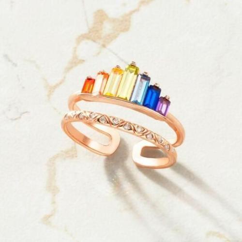 ADJUSTABLE DOUBLE BAND RAINBOW RING