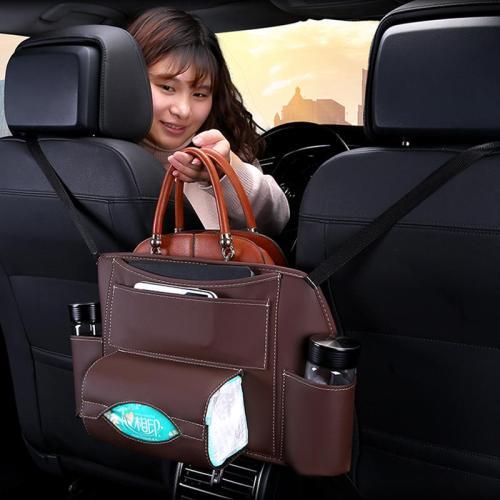 Leather Car Net Pocket Handbag Holder