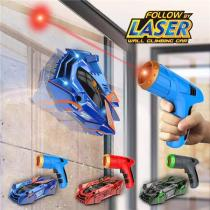 Laser-Guided Real Wall Climbing Race Car