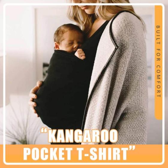 Kangaroo Pocket T-Shirt-No wrapping, adjusting, or tying