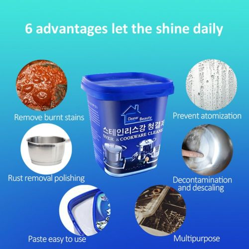 Powerful Stainless Steel Cookware Cleaning Paste Household Kitchen Cleaner Washing Pot Bottom Scale Strong Cream Detergent