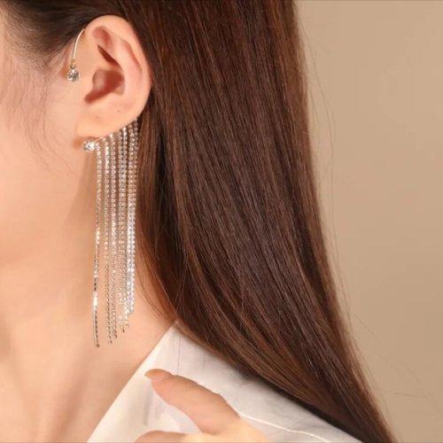 Sparkling Diamond Tassel Earrings