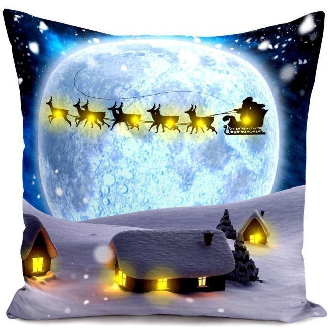 Short Plush Creative Cushion Cover LED Light Christmas Digital Printing Pillow Case Decorative Throw Pillow Cover