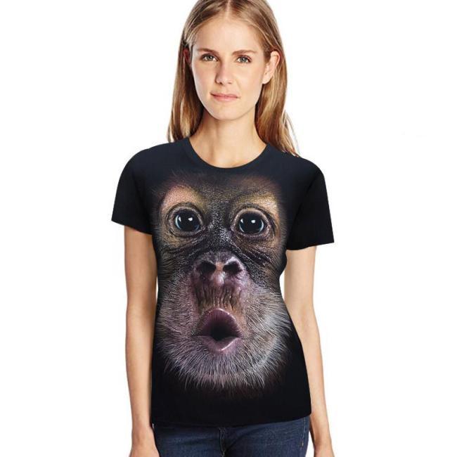 3D Print O-Neck Funny Gorilla T-shirt - anti-wrinkle, breathable, comfort