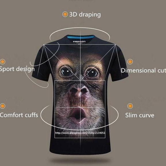 3D Print O-Neck Funny Gorilla T-shirt - anti-wrinkle, breathable, comfort