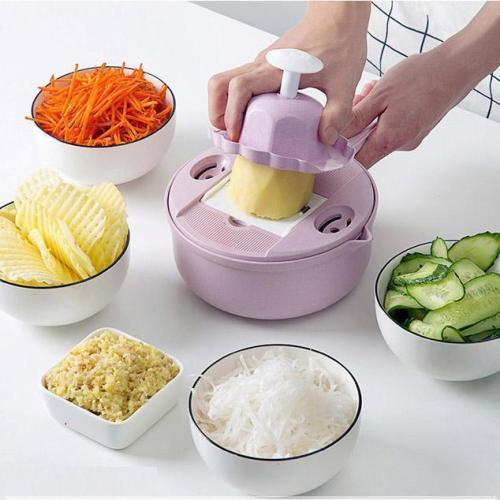 Multi-function Chopper-with 5 Interchangeable Julienne Blades,Food Container,Drain Basket,Grater,Egg Divider and Protective Handholder
