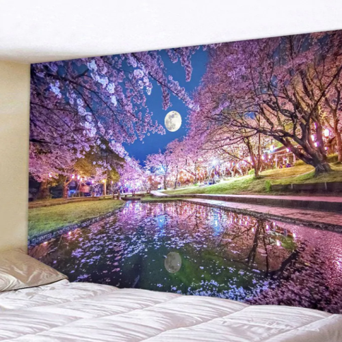 Sakura Moon Print Tapestry Wall Art Hanging Decoration