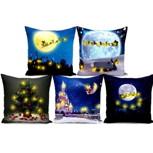 Short Plush Creative Cushion Cover LED Light Christmas Digital Printing Pillow Case Decorative Throw Pillow Cover