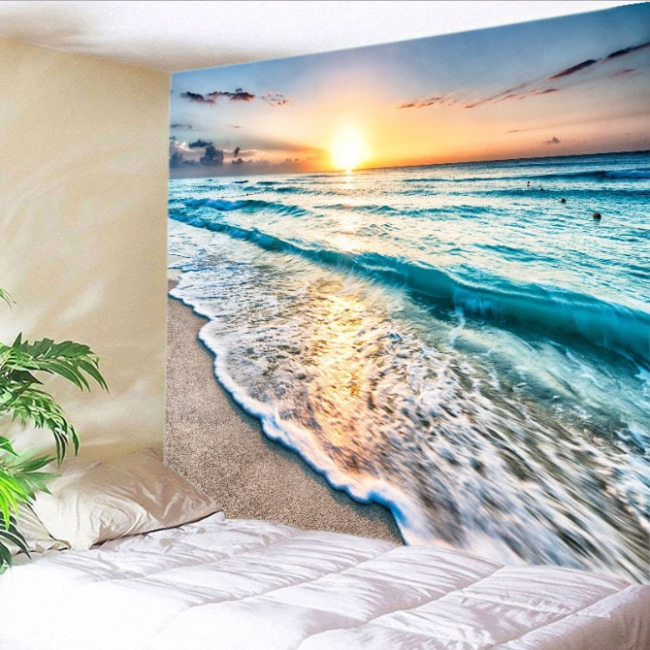 Sunrise Beach Waves Print Tapestry Wall Hanging Art