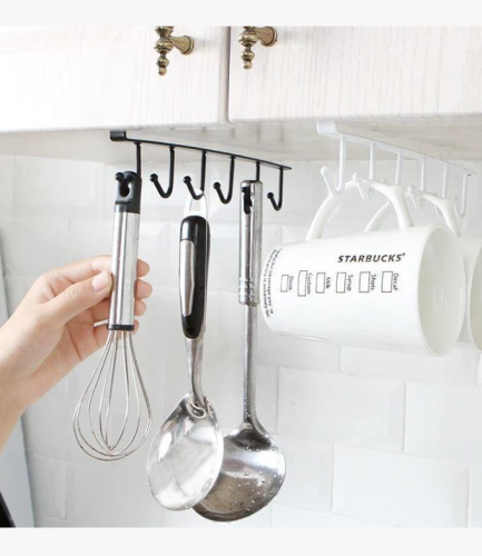 Under-Cabinet Hanger Rack (6 Hooks)-The load capacity is 6.6 lbs / 3 kg