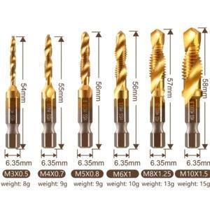 6 Piece Thread Tap Drill Bits Set