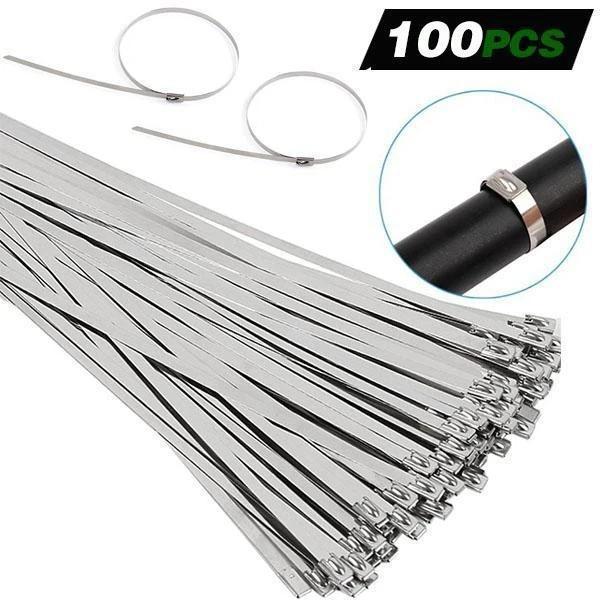 100PCS Multi-Purpose Locking Cable Metal Zip Ties