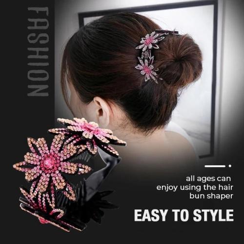 Rhinestone Hair Bun Claws Holders