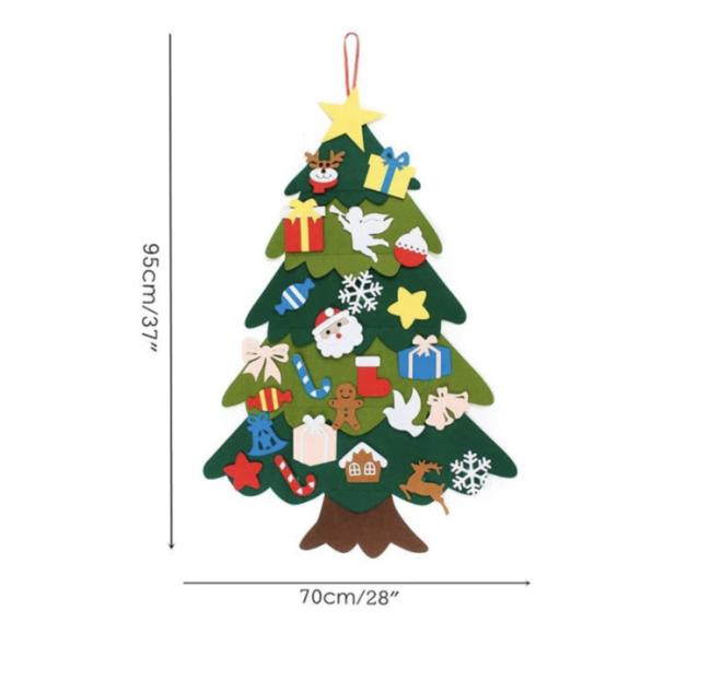 DIY Felt Tree & Spare Ornaments Bundle(With Free LED String Light)