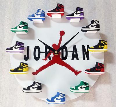 Air Jordan 3D Sneaker Clock with 1-12 Mini Sneakers-Free shiping