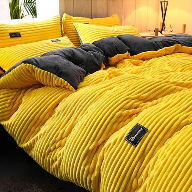 3 Pcs AB Sided Thicken Corduroy Velvet Winter Bedding Set