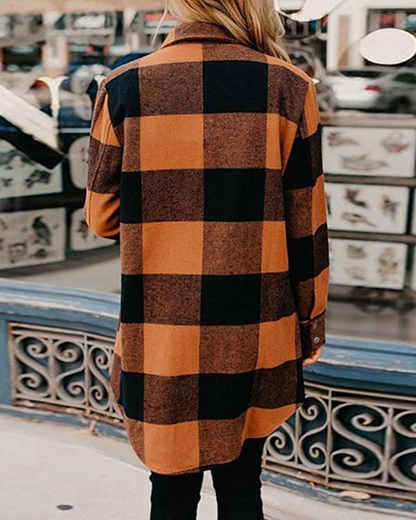 Turn-down Collar Orange Plaid Shirt Coat
