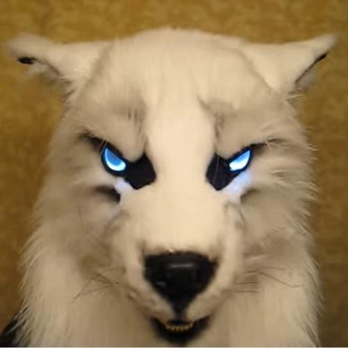 Werewolf Headwear Glowing Eyes Movable Costume Mask