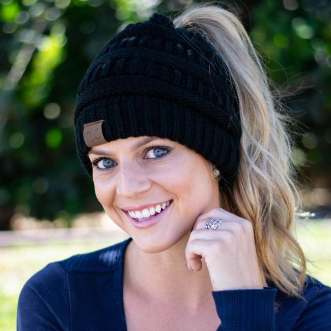 Soft Knit Ponytail Beanie Hat