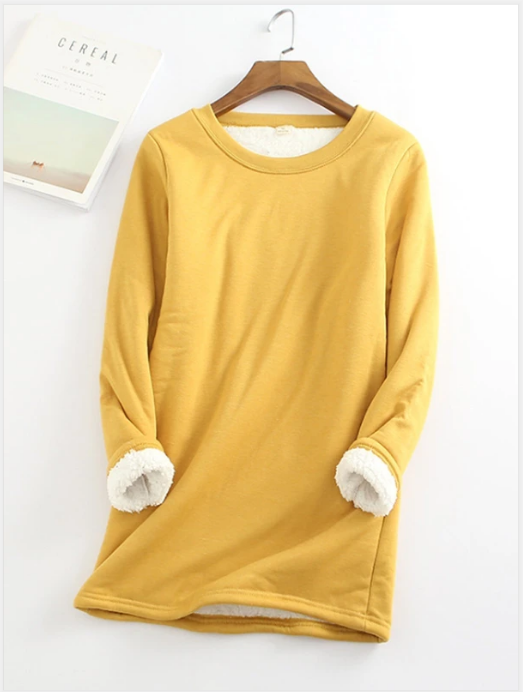 2020 NEW CASUAL FLEECE-BLEND ROUND NECK SOLID LONG SWEATSHIRT (S-5XL)