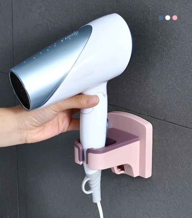 Punch-free Iron Wall-mounted Hair Dryer Storage Rack