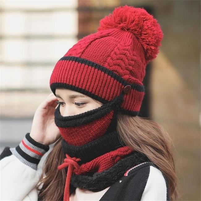 3Pcs Womens Winter Scarf Hat Set