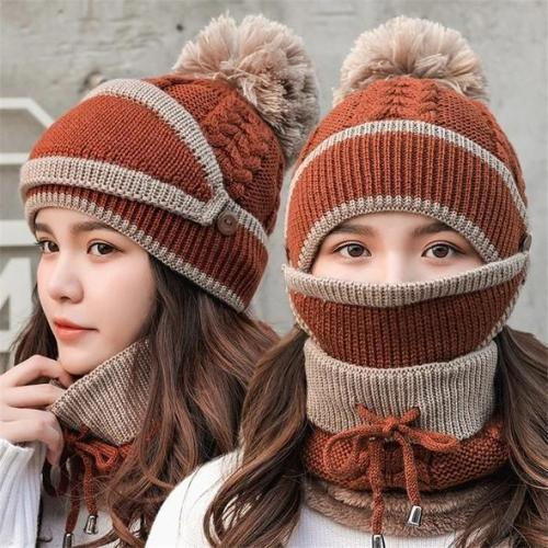 3Pcs Womens Winter Scarf Hat Set