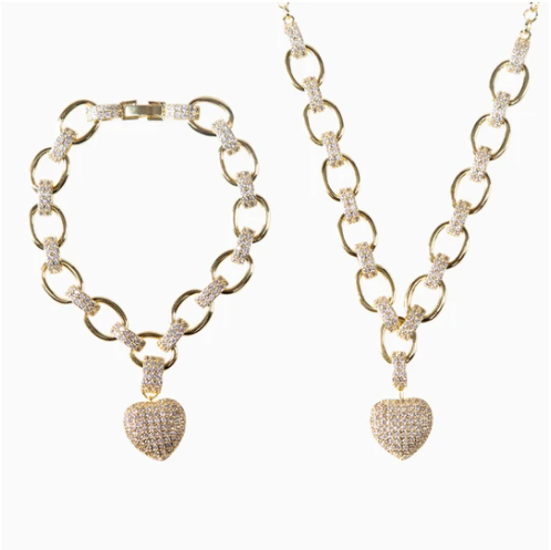 Heart Pendant Jewelry Set