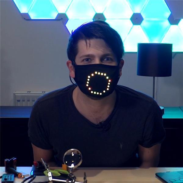 😀LED Voice Recognition Face Cover Light Up Rave Face Cover