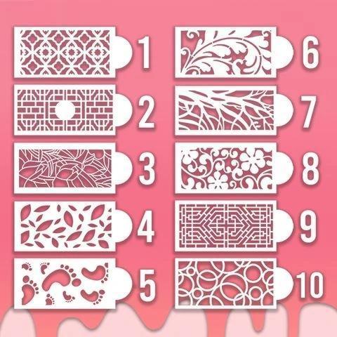 Cake Lace Decoration Stencil (Set of 10)